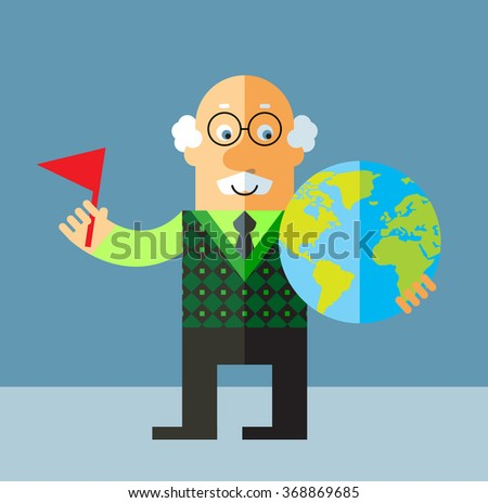 Old Man puting flag mark the globe. Flat style vector illustration on gray background. - stock vector