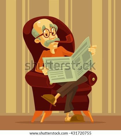 Old man reading newspaper. Grandfather smoking. Vector flat cartoon illustration - stock vector