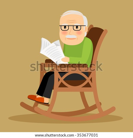 Old Man Sitting In Rocking Chair And Reading Newspaper Vector Illustration