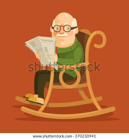 Old man sitting in rocking chair. Vector flat illustration - stock vector