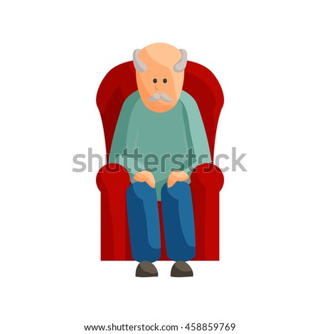 Old man sitting on chair icon in cartoon style isolated on white background - stock vector