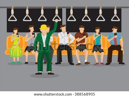 Old man standing inside subway train and all sitting passengers in background looking at mobile phones. Vector cartoon illustration on technology obsession of modern people concept. - stock vector