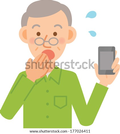 Old man to use a mobile phone - stock vector