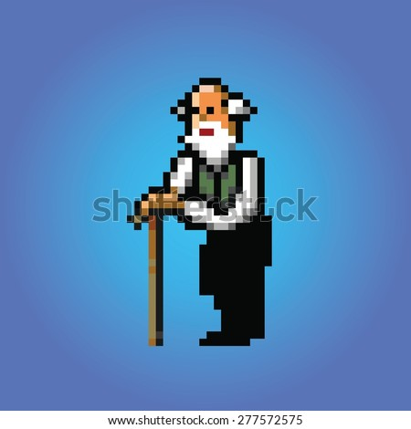 old man with stick pixel art style illustration vector isolated - stock vector
