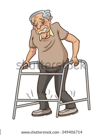 Old Man Walking Frame Vector Cartoon Stock Vector 349406714 ...