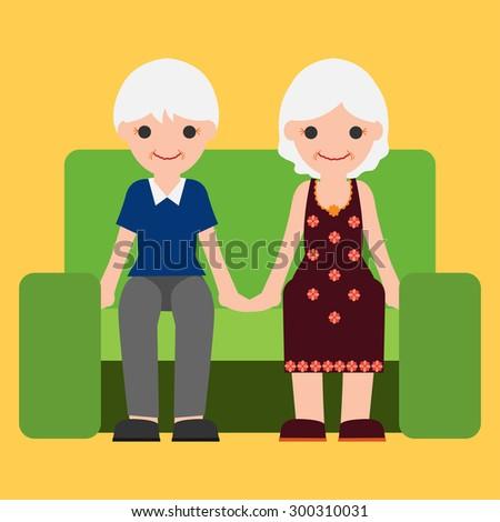 Old Man,  Woman cartoon vector. - stock vector