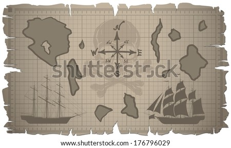 Old map with two ships and skull. Vector. - stock vector