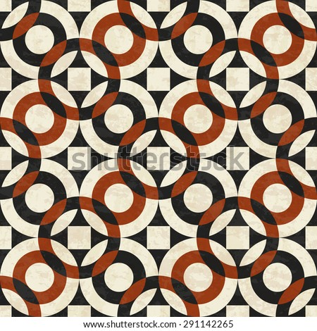 Old marble floor, abstract geometric pattern with circles, textured seamless vector illustration - stock vector