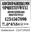 Old maroon retro rubber stamp style alphabet with numbers and signs vector - stock vector