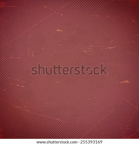 Old marsala scratched paper card with halftone gradient - stock vector