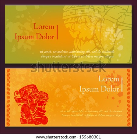 Old maya paintings - set of card templates - stock vector