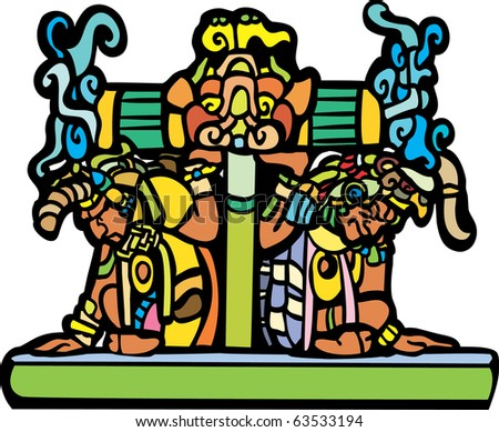 Old Mayan men for the base of a pedestal. - stock vector