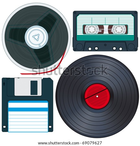 Old Media set for various design - stock vector