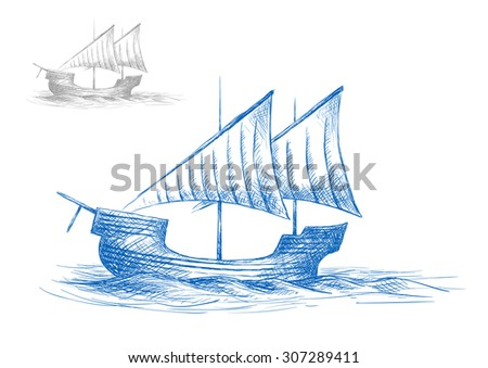 Old medieval sailing ship in ocean waves for nautical design. Sketch style