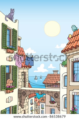 Old Mediterranean city buildings with tile roofs and the sea view at the distance. - stock vector
