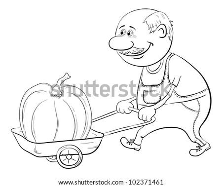 Old men gardener driven truck with pumpkin, black contour on white background. Vector illustration - stock vector