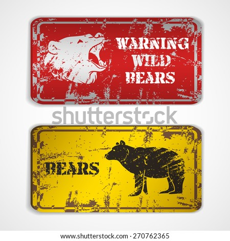 Old metal plate with roaring bear.Vector illustration - stock vector