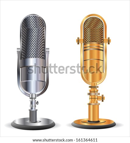 Old microphone - stock vector