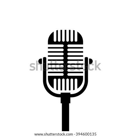 Old microphone icon. Black icon isolated on white background. Microphone silhouette. Simple icon. Web site page and mobile app design element. - stock vector