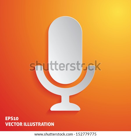 Old microphone white icon on orange background. Vector Illustration - stock vector