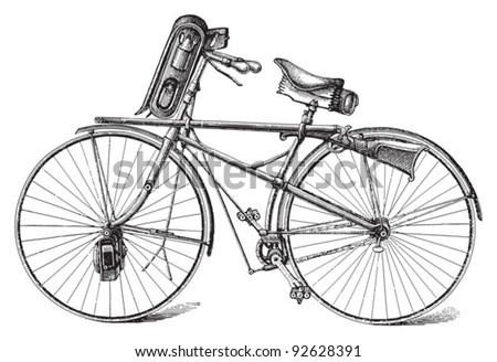 Old military bicycle / vintage illustration from Meyers Konversations-Lexikon 1897 - stock vector