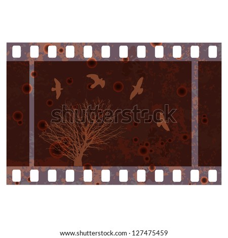 Old 35 mm photo frame template. - stock vector