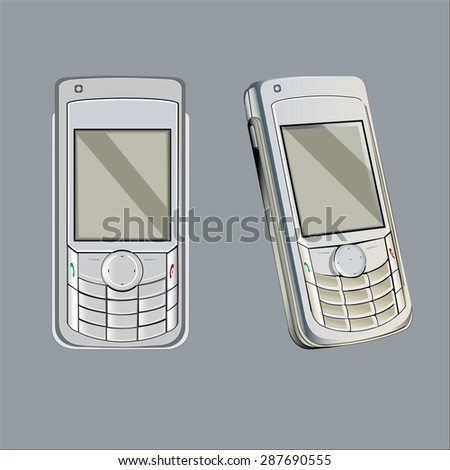 Old mobile phone vector illustration, Mobile retro style - stock vector