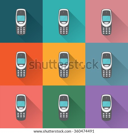 old mobile phones - stock vector