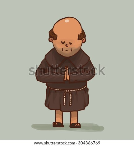 Old monk is praying, vector - stock vector