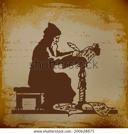 Old monk writing a chronicle of contemporary events vector illustration - stock vector