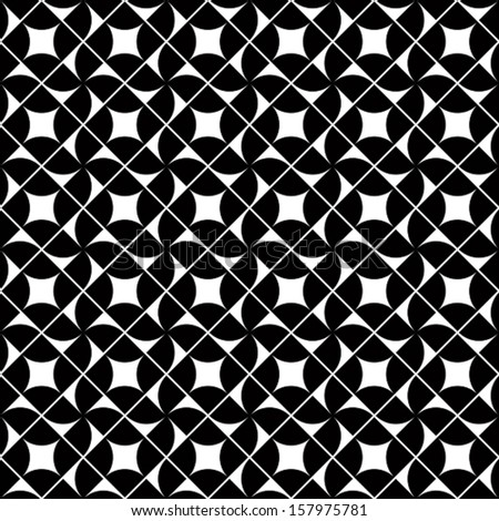 Old mosaic seamless background, vector black and white retro style design. Seamless pattern.  - stock vector