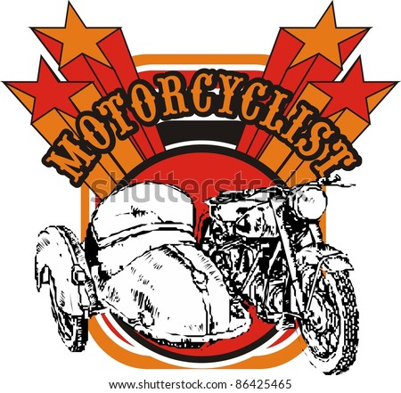 old motorcycle in star backgound - stock vector