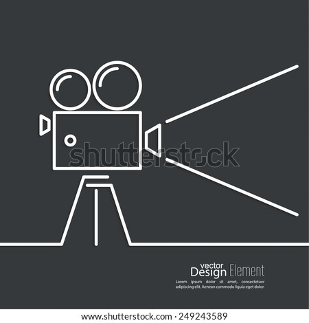 Old movie camera with reel on a dark background and a ray of light. Symbol of the film industry, cinema, photography. minimal. Outline. - stock vector