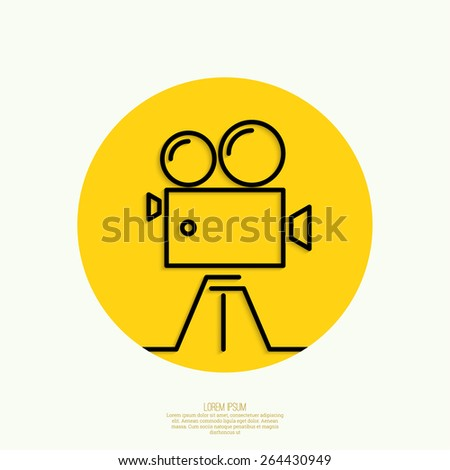 Old movie camera with reel on yellow background.Icon. Symbol of the film industry, cinema, photography. minimal. Outline. Mobile applications - stock vector