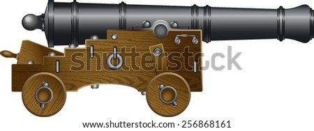 old naval cannon - stock vector