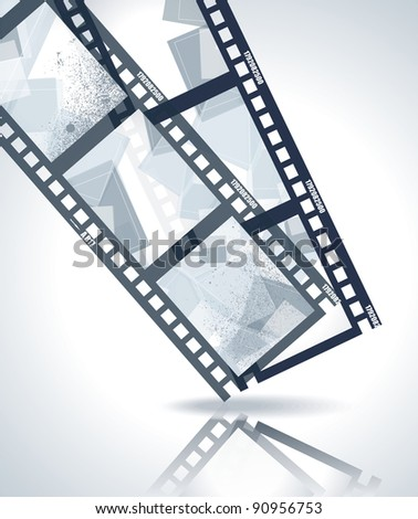 Old negative film strip with abstract images - stock vector