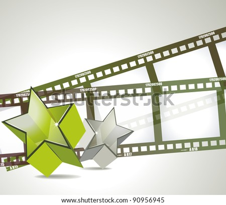 Old negative film strip with 3d glass stars - stock vector