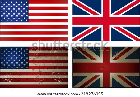 old new USA UK Flag - stock vector