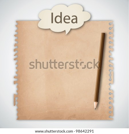 Old Note Paper with Conceptual Idea - stock vector