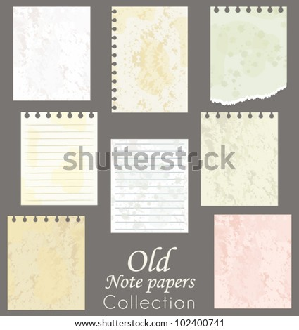 Old note papers collection. Scrapbooking vector set. - stock vector