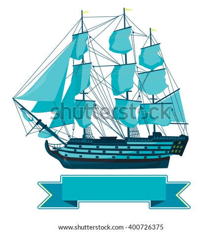 Old Old blue wooden historical boat on white. Sailing boat with sails, mast, brown deck, guns. Illustration of galleon. Training corvette ship for pirate - flatten icon isolated master vector