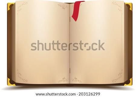 Old open magic book. Vector cartoon illustration - stock vector
