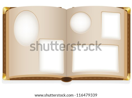 old open photo album with blank photos vector illustration isolated on white background - stock vector