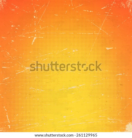 Old orange scratched paper card with halftone gradient - stock vector