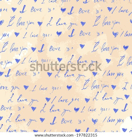 """Old page background with seamless handwritten text with the phrase """"I love you."""" Watercolor vector illustration - stock vector"""