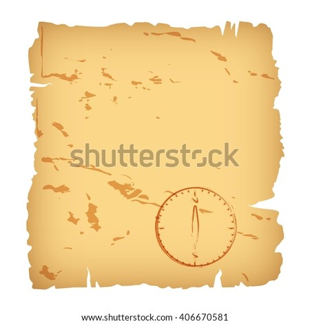 Old paper and compass. Blank for a geographic map.Background. - stock vector