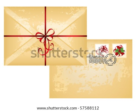 Old paper envelope isolated on white background, vector - stock vector