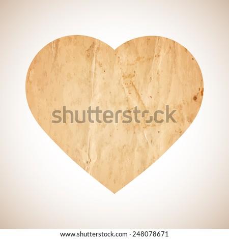 Old paper heart. Valentine??s day decor. Vector illustration for design - stock vector