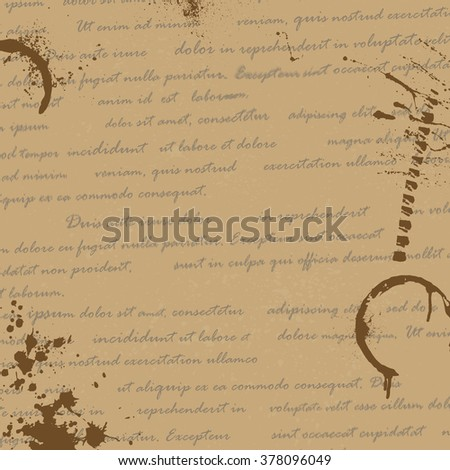 Old paper manuscript with text and ink blots. eps10 - stock vector