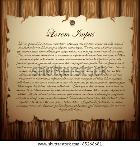 old paper on wood background (vector template) - stock vector
